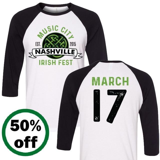 Music City Irish Fest White and Black Raglan Tee