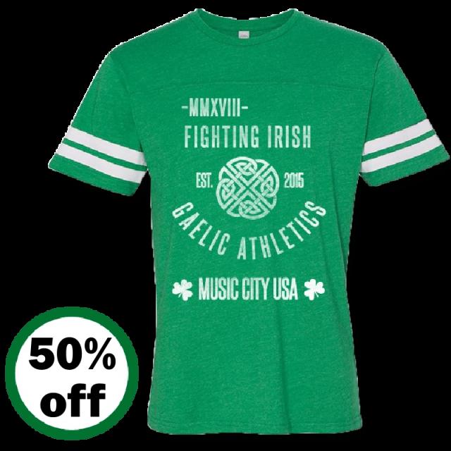 Music City Irish Fest Unisex Vintage Green Football Tee
