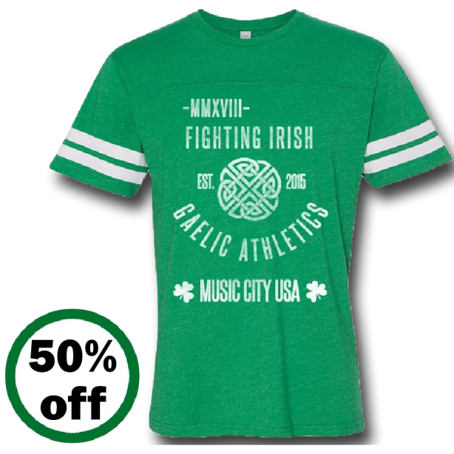 Music City Irish Fest Unisex Vintage Green Football Tee